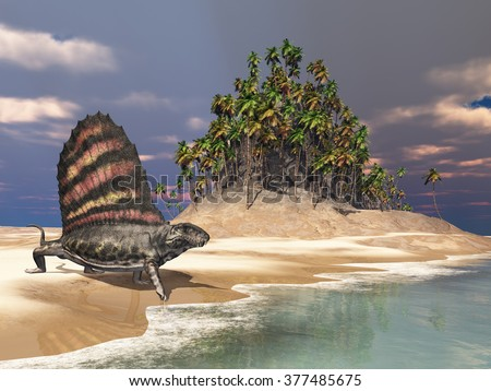 Pelycosaur Dimetrodon by the sea Computer generated 3D illustration