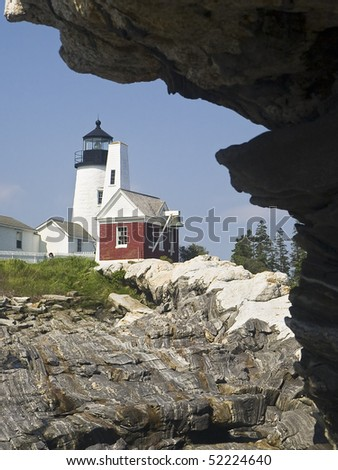 Pemaquid Point Lighthouse and Granite, near Bristol, Maine - stock photo