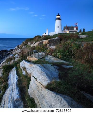 Pemaquid Point Lighthouse At Sunrise, Bristol, Maine - stock photo