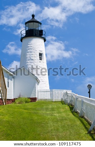 Pemaquid Point Lighthouse in Bristol, Maine - stock photo