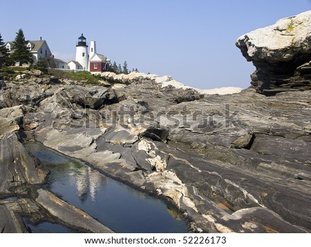 Pemaquid Point Lighthouse Reflection Pool and Granite, near Bristol, Maine - stock photo