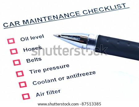 blank car maintenance schedule