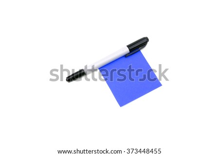 Pen and blue memo paper - stock photo
