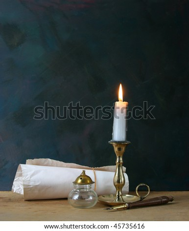 Pen and candle in retro style