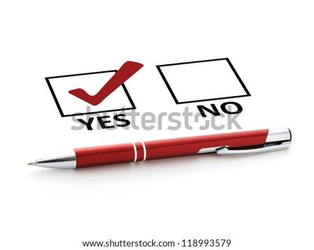 Pen and checklist. - stock photo