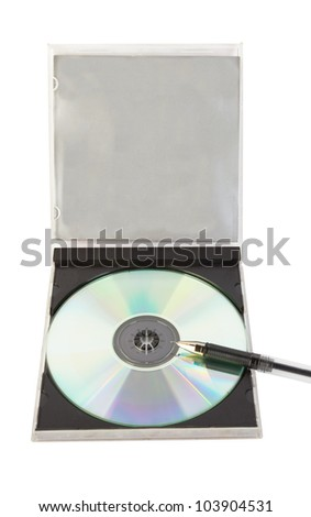 Pen and disk isolated on a white
