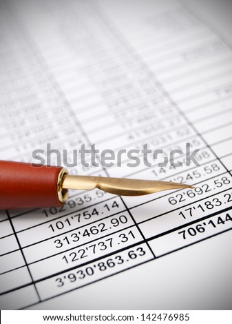 Pen and documents. - stock photo