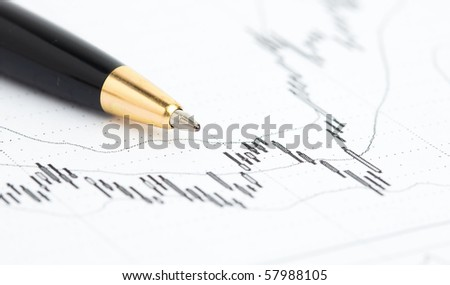 pen and graph - stock photo