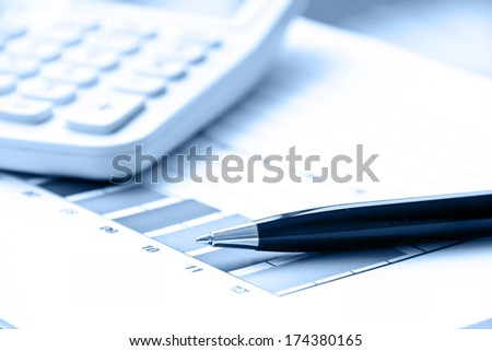 Pen and graph data document in mono tone color