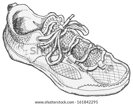 Pen and ink, black and white, drawing of a shoe.  - stock photo