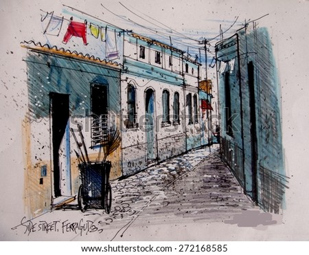 Pen and ink illustration of old side street and buildings in Ferragudo, Portugal. - stock photo