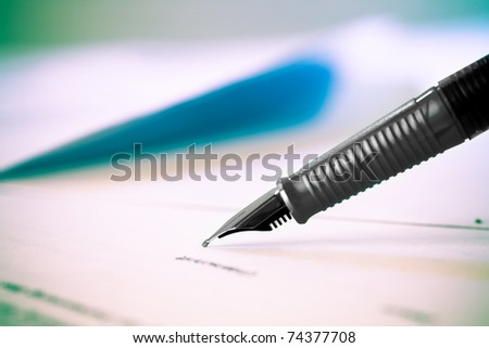 Pen and legal document for sign - stock photo