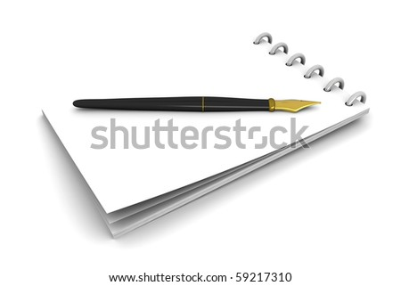Pen and notebook. 3D rendered Illustration. Isolated on white.