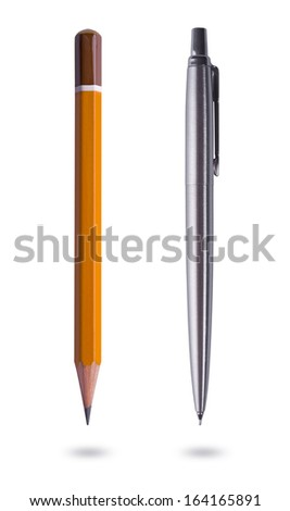 Pen and pencil on white background - stock photo