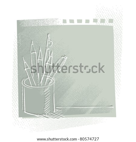 pen and pencils in a can, freehand drawing, artistic background - raster version - stock photo