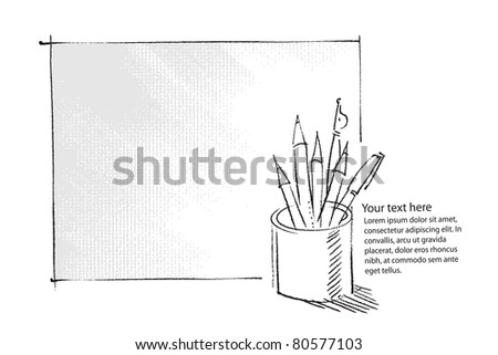 pen and pencils in a can, freehand drawing, artistic background  (raster version) - stock photo