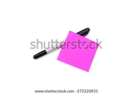 Pen and purple memo paper - stock photo