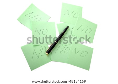 Pen and sticky note on a white background