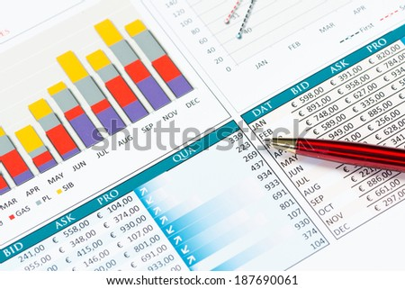 pen and successful growth charts. business still life - stock photo