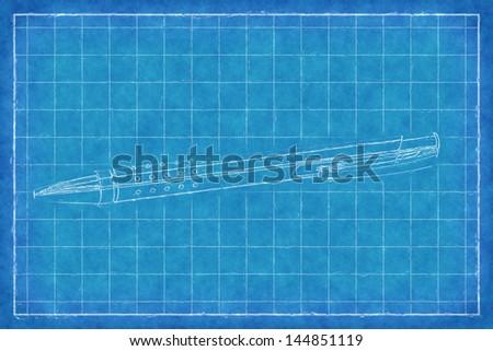 Pen - Blue Print - stock photo