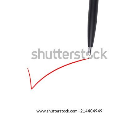 pen check mark white sheets - stock photo