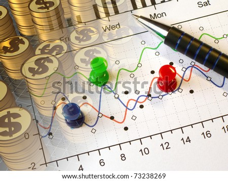 Pen, graph and coins - collage about reporting. - stock photo