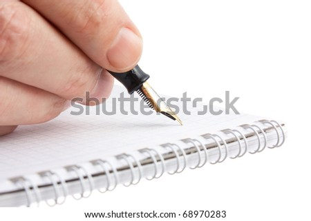 pen in hand  isolated on white background - stock photo