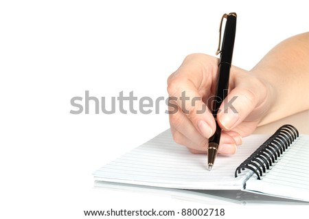 pen in hand writing on the notebook and reflection isolated on white - stock photo