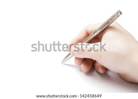 Pen in right hand of male isolated on white background - stock photo
