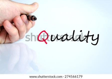 Pen in the hand isolated over white background quality concept - stock photo