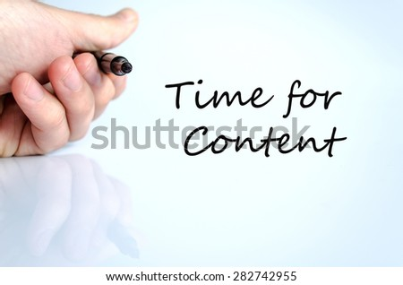 Pen in the hand isolated over white background Time for content Concept - stock photo