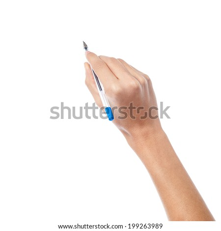 Pen in woman hand, about to write.