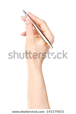 Pen in woman hand isolated on a white background. - stock photo