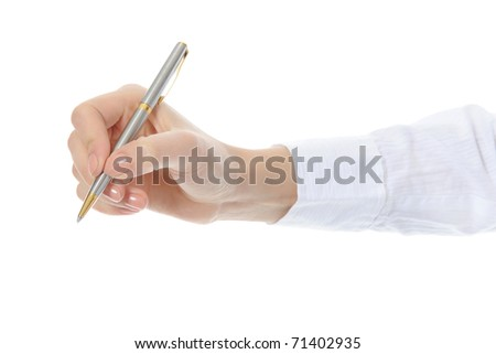 Pen in woman hand. Isolated on white background - stock photo