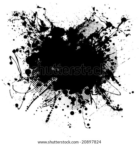 Pen ink and half tone black blob with copy space - stock photo