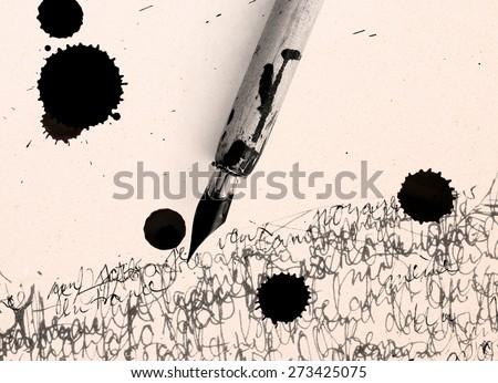 pen, inkjet bob and calligraphy - stock photo