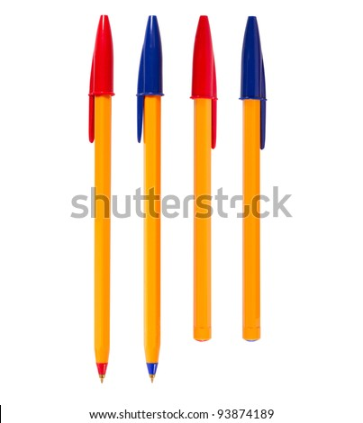 Pen isolated on white background, of different colors - stock photo