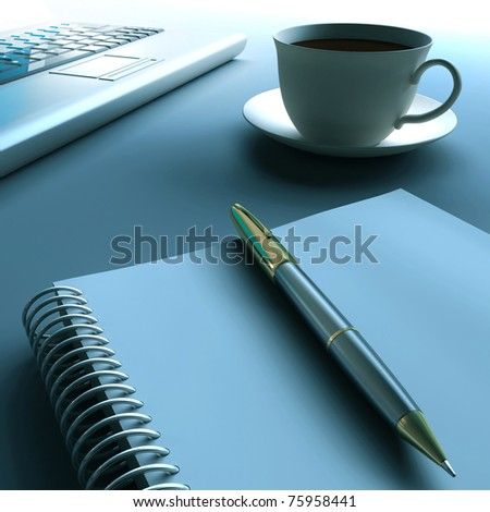 Pen, laptop and cup of coffee.