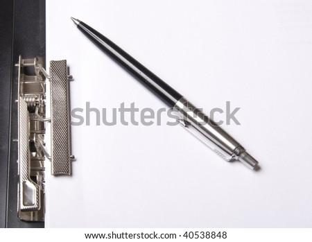Pen on folder for paper - stock photo