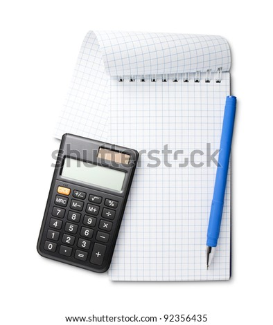 Pen on notebook and calculator isolated on white background