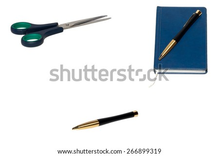 Pen on notebook, isolated on white background. - stock photo