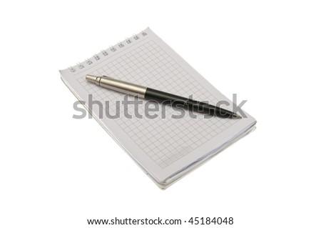 pen on notepad isolated on white background - stock photo