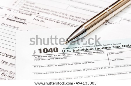 Pen on the tax form