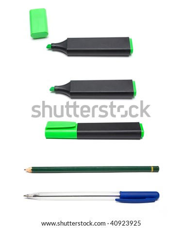 pen, pencil and markers isolated on white - stock photo
