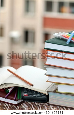 pen pencil study textbooks - stock photo