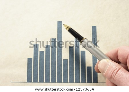 Pen pointing at a high point on a bar graph.