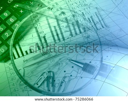 Pen, rulers and paper-clips against the chart - collage. - stock photo