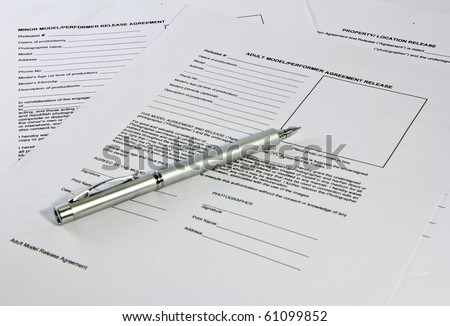 Pen saving on legal documents, contracts shot with the depth of information - stock photo
