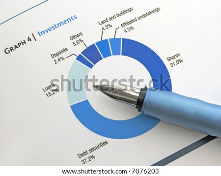 Pen showing a diagram on a report - stock photo