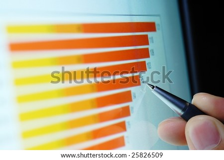 Pen showing a diagram on screen - stock photo